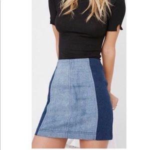 Free People Two Tone Denim Skirt